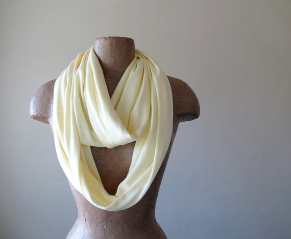 Jersey Cotton Infinity Scarf - Pale Yellow Loop Scarf - Lightweight Handmade Infinity Scarf