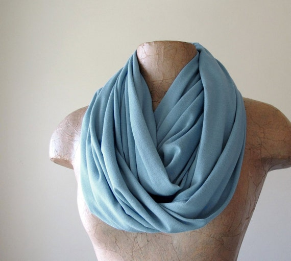 Powder Blue Infinity Scarf - Jersey Cotton Loop Scarf - Handmade Medium Weight Blue Circle Scarf Cowl