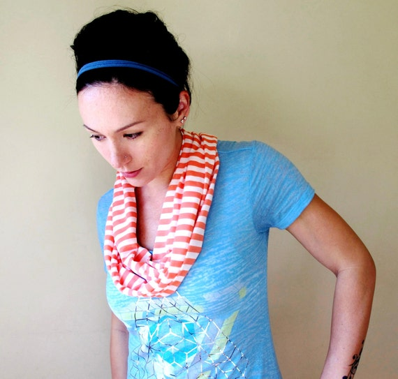 Skinny Cotton Scarf - Coral Peach, White Stripes - Striped Summer Scarf