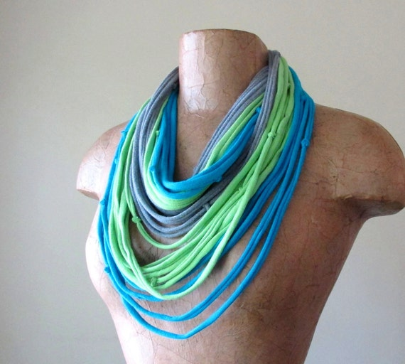 Knotted Scarf Necklace - Eco Friendly T Shirt Scarf - Upcycled Jersey Cotton - Lime Green, Aqua Blue, Gray