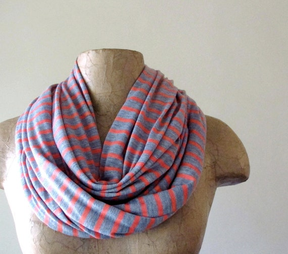 Striped Scarf - Coral, Heather Gray Stripes - Lightweight Striped Cotton Jersey Scarf