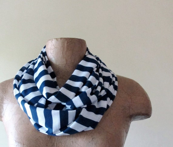 Striped Skinny Scarf - Nautical Navy Blue, White Stripes - Lightweight Summer Scarf