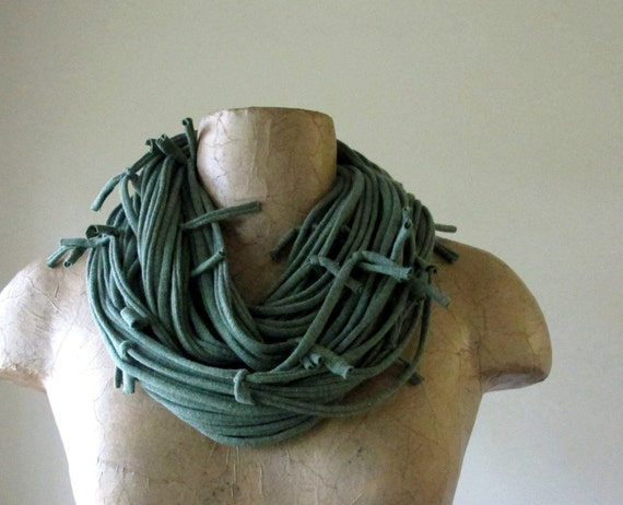 Shag Heather Green Scarf Necklace - Upcycled Cotton Jersey Fabric Scarf - Eco Friendly Scarves