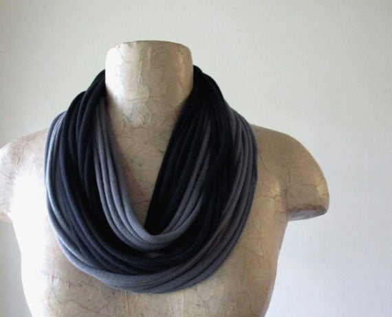 Upcycled Scarf Necklace - Eco Friendly Jersey Cotton Scarf - Gray and Black Eco Friendly Scarf