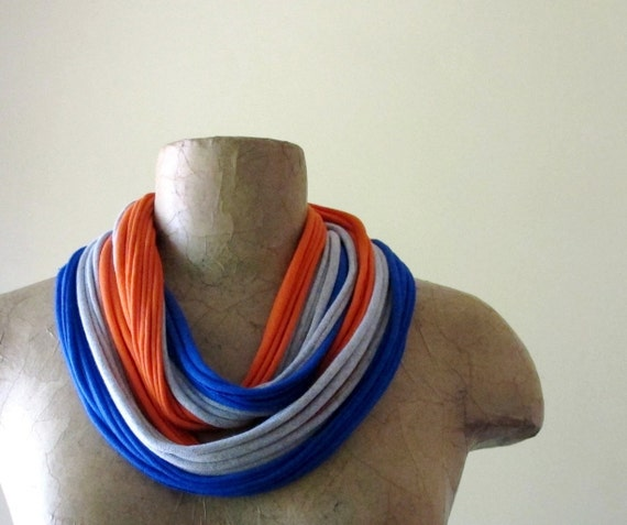 Upcycled T Shirt Scarf - Eco Friendly Scarf Necklace - Jersey Cotton Scarf - Tangerine, Gray, Primary Blue