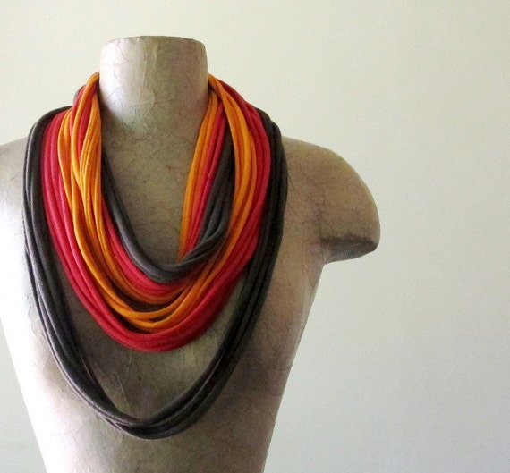 Upcycled Scarf Necklace - Eco Friendly Jersey Cotton Scarf - Brown, Red, Orange