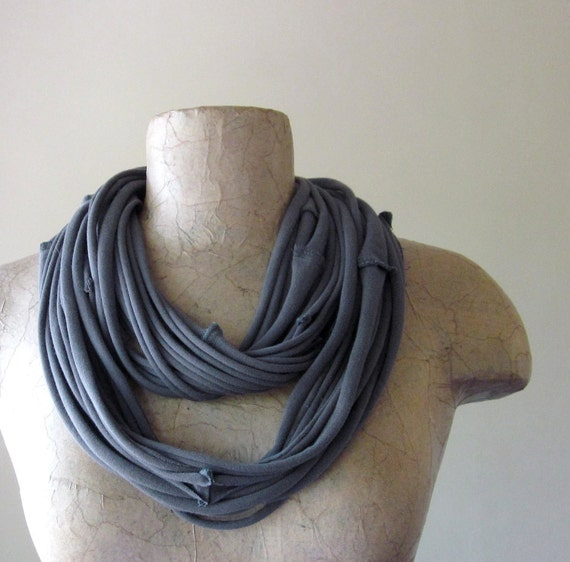 Eco Friendly Scarf Necklace - Charcoal Gray Upcycled Jersey Fabric Necklace - Gray Jersey Cotton Scarf