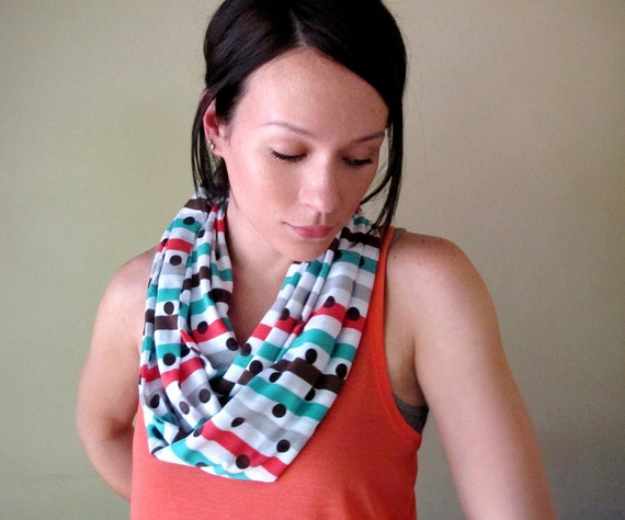 Polka Dot Infinity Scarf - Stripes and Polka Dots Scarf - Handmade LightWeight Cotton Infinity Scarves