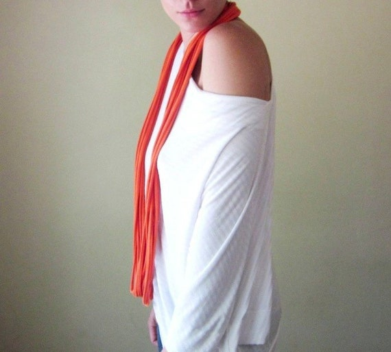 Closeout Sale - Tangerine Cotton Scarf Necklace - Infinity Loop Scarf - Eco Friendly Jersey Fabric Necklace