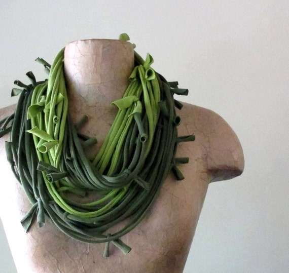 Shag Cotton Scarf Necklace - Upcycled Jersey Fabric Necklace - Avocado Green, Pear Green - Eco Friendly Infinity Scarf