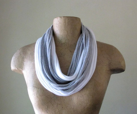 Infinity Scarf Necklace - Eco Friendly Cotton Fabric Scarf - White, Heather Gray - Upcycled T Shirt Scarf