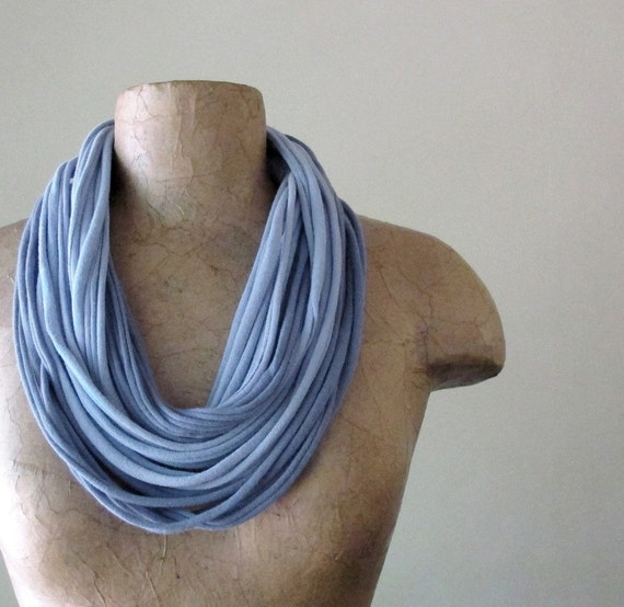 Slate Blue Scarf Necklace - Eco Friendly Jersey Fabric Necklace - Upcycled Cotton Infinity Scarf