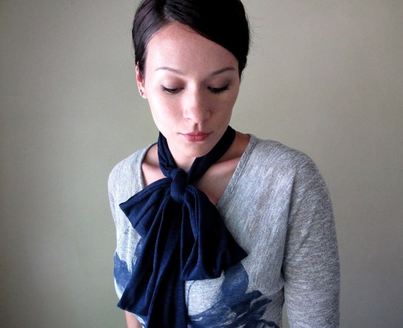 Navy Blue Bow Tie - All In One Neck Bow, Ascot - Sash - Cotton Head Scarf, Hair Wrap, Headband, Turban - Fall Accessory