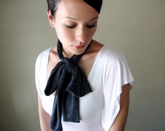 GREY Neck Bow - Sash, Ascot - Jersey Head Scarf, Hair Wrap, Headband - Womens Accessories