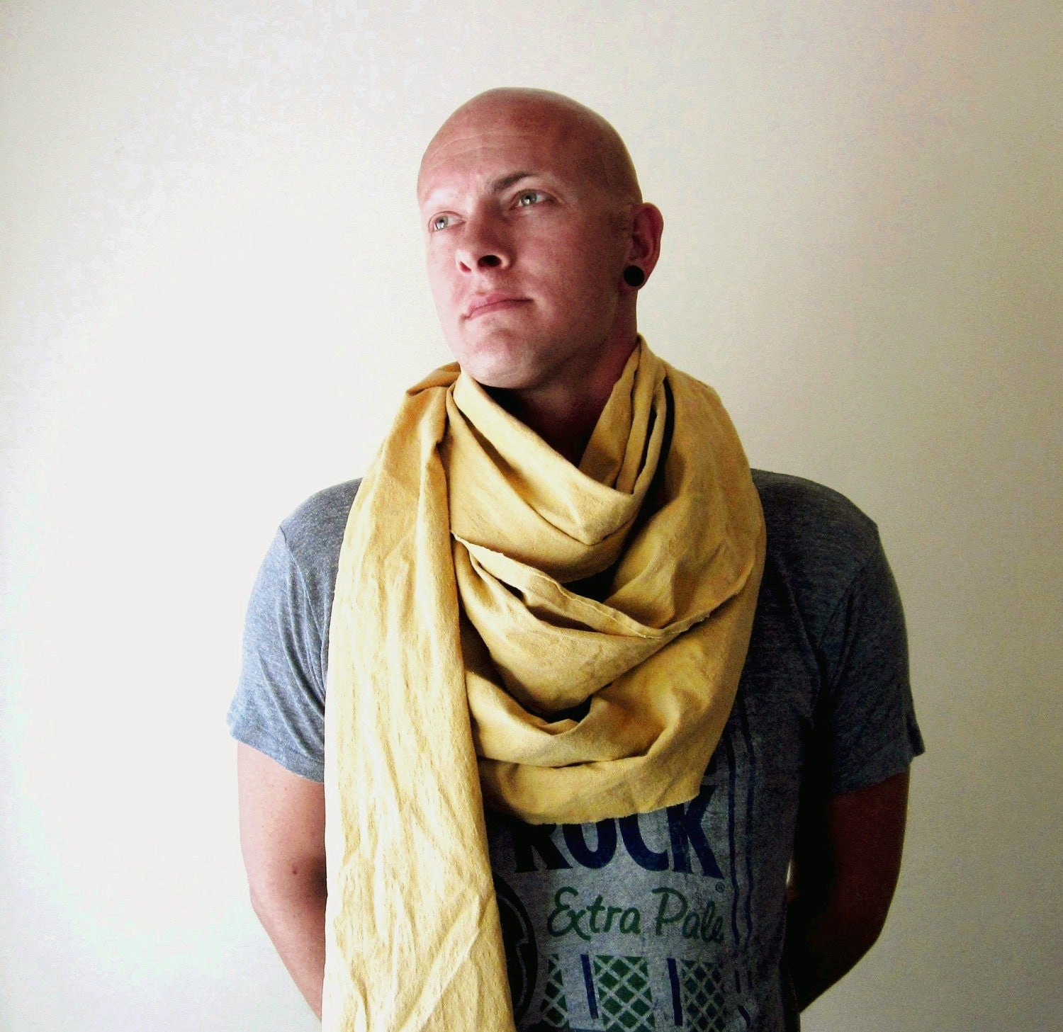 EXTRA LONG mens scarf in mustard yellow brushed cotton  by EcoShag 100 Cotton Scarves For Men