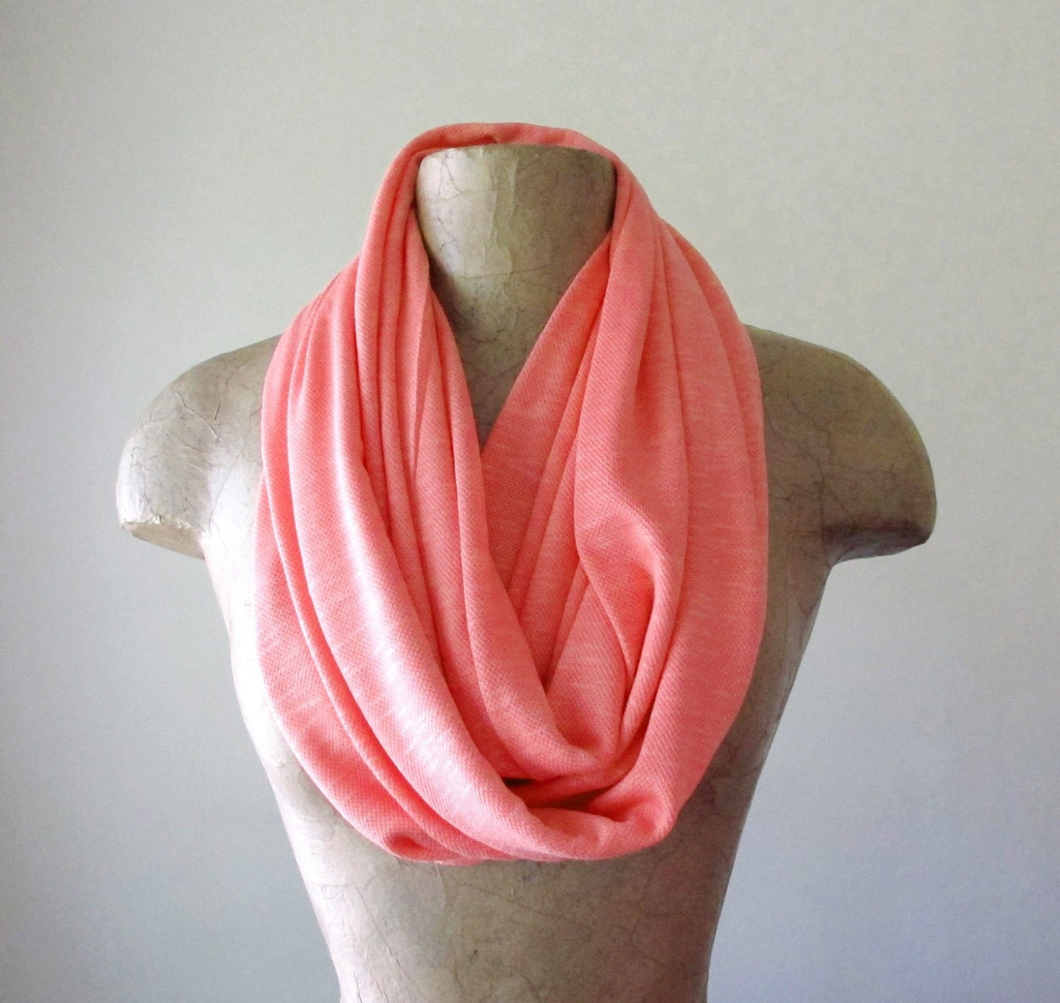 knit infinity scarf coral peach sweater scarf lightweight