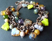 Fall Away With Me - Beautiful Czech Glass Maple Leaf Dangle Charm Beaded Copper Bracelet