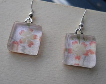 Pink Flower Glass Earrings