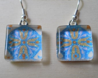 Blue and Orange Glass Earrings