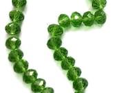 Green Crystal Rondelles (25)  8mm