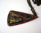 Enamel on copper pendant, multicolor splash, modern design, triangular shape