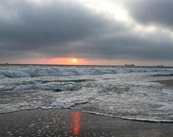 Stormy Beach Sunset Photograph 8x10