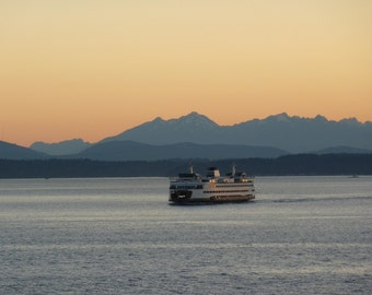 Puget Sound Ferry at Sunset Photograph 8x10