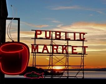 Pike Place Market Sunset Photograph 8x10