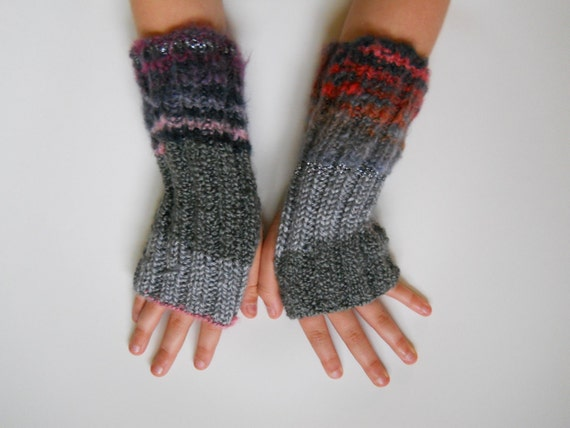 Luxe grays arm sox, wrist warmers, texting gloves, with silver, pinks, purples, reds