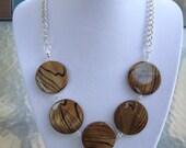 Handmade Large Lentil Brown/Amber Shell & Swarovski Crystal Necklace - Free Shipping