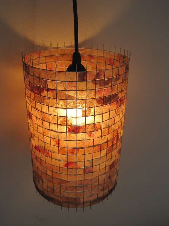 RESERVED for Diane - 100% Handmade Unique COFFEE FILTER Hanging Pendant Drum Shade Eco-friendly Ceiling Light Fixture Lamp Shade Table Lamp