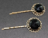 Vintage Inspired Bobby Pin Set Midnight Black Dress up your Hair Great for Boudoir Pictures