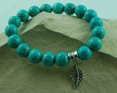 Beaded Bracelet Turquoise Silver Leaf Charm  Stretch  Bracelet Great Gift SOLD to Jonie