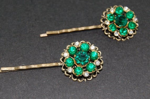 Vintage Inspired Bobby Pin Set Great For Dance Boudoir Photos Green Emerald Flowers