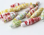 Bright Summer Paper Beads - Upcycled Art - Colorful Floral - Retro