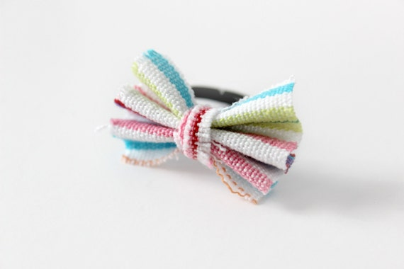 Pastel Rainbow Bow Tie Adjustable Ring -  Strawberry Spring Stripes