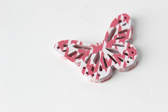 Geometric Chevron Butterfly Die Cuts - Pink Houndstooth Tribal