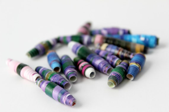Nature Inspired Paper Beads - Upcycled Art - Spring Violet Blue Flower