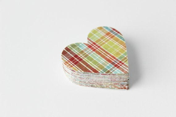 Plaid Heart Die Cuts -  Colorful - Back to School