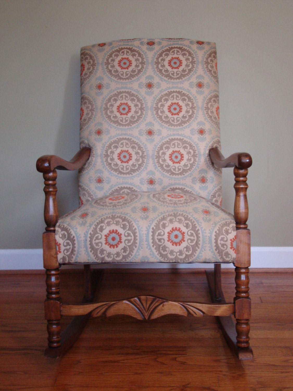 Upholstered Rocking Chair in Suzani Fabric