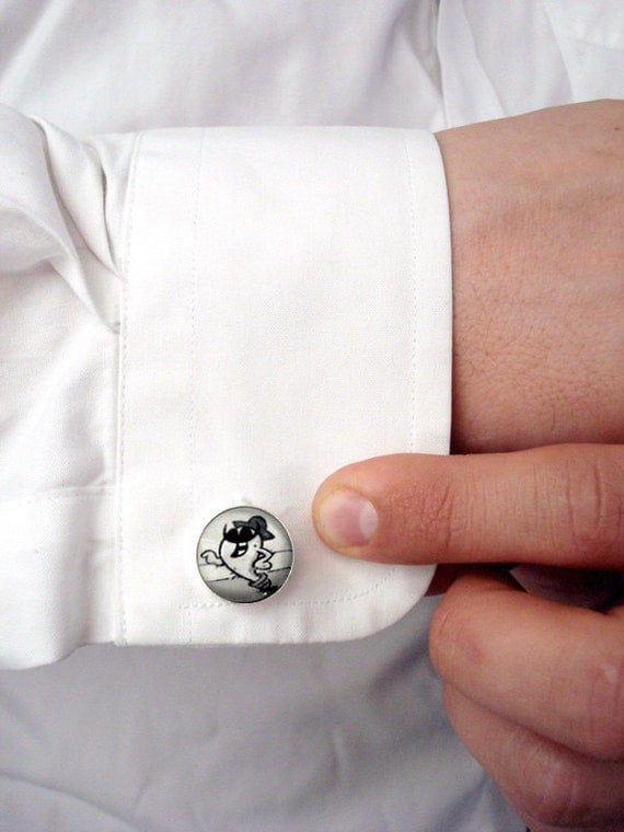McPedro Cuff Links - Geekery for Dudes - Silver and Black and White