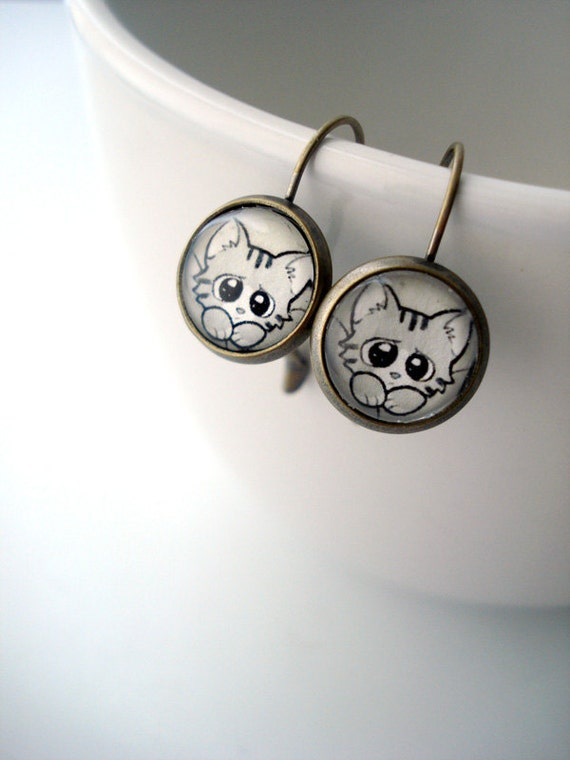 Fluffy the Cat Earrings - Kitty Cat, Lever-Back Dangle Earrings - Girls with Slingshots Gifts and Jewelry - Gunmetal Antique Silver