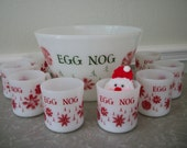 Vintage Christmas Milk Glass Punch Set by Fire King Holiday Special 20% was 42.00