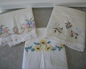 Vintage Hand Embroidered Pillow Cases with Hand Crocheted Trim Three On Sale
