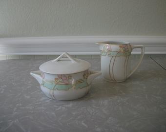 Antique Rosenthal China Sugar and Creamer Set  Art Nouvea Lotus Flower