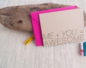 I love you card, Me plus You equals Awesome A2 card