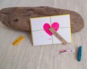Blockprinted Heart Notecard Set