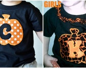 Custom Girl Monogrammed Halloween Pumpkin T-shirt - 6 MONTH -6T