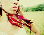 Poppies will put you to sleep....Long Hair Feather Earrings 10 inches  Made with Recycled Tin Cones-Feather Symbolism