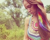 Double Rainbow, Extra Long Single Chain Feather Earring-Hair Extension--12 inches long, NEW iridescent Hair Tinsel- Symbolism